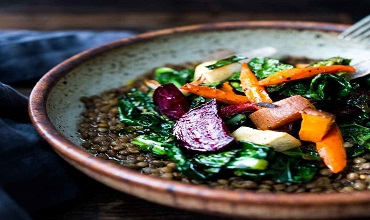 Roasted and Spicy veg with lentils